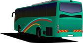 Bus de turismo verde. entrenador. ilustración vectorial para diseñadores — Vector de stock