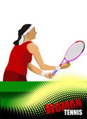 Woman tennis r poster. Colored Vector illustration — Stock Vector