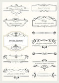 Calligraphic elements and frame vintage set. Vector illustration — Stock Vector