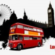 Vector de stock : Grunge London images with buses image. Vector illustration