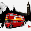 Grunge London images with buses image. Vector illustration — ストックベクタ