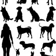 Set of dogs silhouette. Vector illustration - Stok Vektör