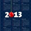 2013 calendar with New Year ball image. Vector illustration — Imagen vectorial