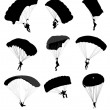 Big collection of parachutists in flight. Vector illustration — Stock Vector
