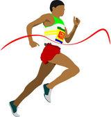 Track and field. Man running. Vector illustartion — Stock Vector