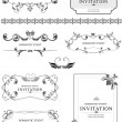 Big collection of ornate vector frames and ornaments with sample — Stock Vector