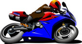 Motorcycle on the road. Biker. Vector illustration — Vector de stock