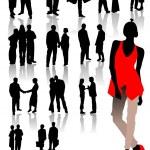 Office silhouettes. Vector illustartion — Stock Vector