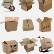 Big collection of carton packaging boxes. Vector illustration — Stock Vector