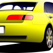 Yellow car sedan on the road. Colored Vector illustration. — Stock Vector #12540610