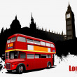 Grunge London banner with double Decker bus images. Vector illus — 图库矢量图片