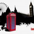 Stock Vector: Grunge London banner with red call-box image. Vector illustratio