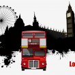 Grunge London images with buses image. Vector illustration — Stock Vector