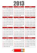 鉛筆のイメージと 2013 年のカレンダー。ベクトル イラスト — ストックベクタ