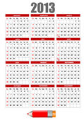 2013 calendar with pencil image. Vector illustration — Stock vektor