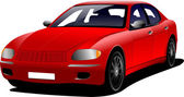 Red car sedan on the road. Colored Vector illustration. — Stockvector