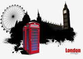 Grunge London banner with red call-box image. Vector illustratio — Stock Vector