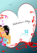 Valentine`s Day Greeting Card. Vector illustration. Invitation — Vettoriale Stock
