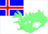 Iceland map and flag on white background. vector — Stock Vector