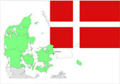 Denmark map and flag, vector illustration set. — Stock Vector