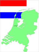 Netherland flag and map. Vector illustration — Stock Vector
