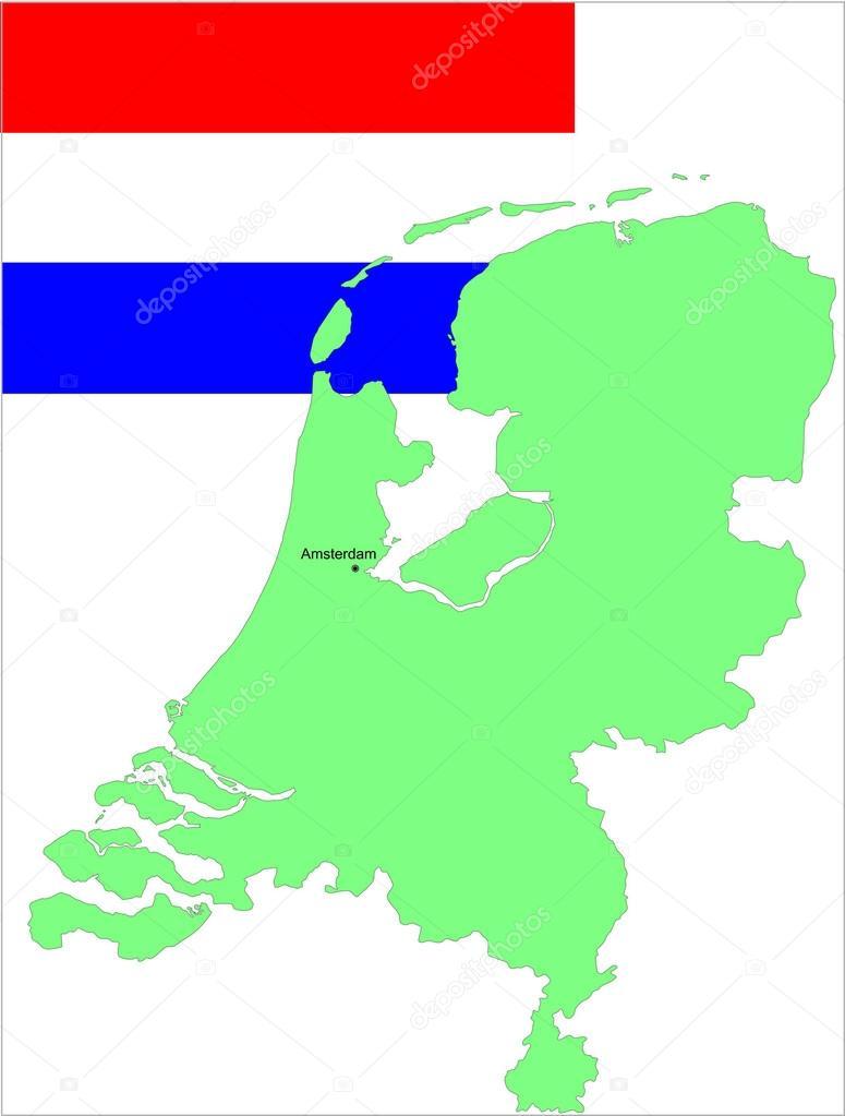 荷兰国旗和地图.矢量插画