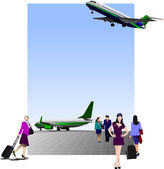 Airport scene . Vector illustration for designers — Vector de stock