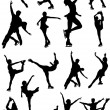 Big set of figure skating black and white silhouettes. Vector il — Stock Vector