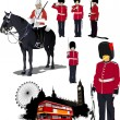 Big collection of London image. Vector illustration — Stok Vektör