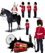 Big collection of London image. Vector illustration — Stock Vector