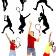Tennis player. Colored Vector illustration for designers - Stock Vector