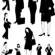 Businesswomen black and white silhouettes. Vector illustration f — Stock Vector