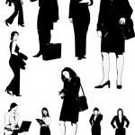 Businesswomen black and white silhouettes. Vector illustration f — Stock Vector