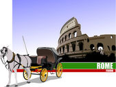 Vintage carriage and horse on Rome background. Vector illustrati — Stock Vector