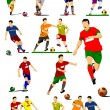 Big collection of soccer players. Football players. Vector illustration — Stock Vector