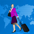 Business womman with suitcase on world map background. Vector il — Stock Vector