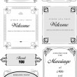 Cтоковый вектор: Set of ornate vector frames and ornaments with sample text. Perf