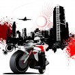 City biker on grunge urban background. Vector illustration — Imagen vectorial