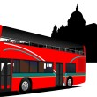 Stock Vector: London double Decker sightseeing red bus. Vector illustration