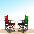 Stock Vector: Vector llustration of director's and producer chair on sky bac