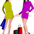 Two shopping ladys with bags. Vector colored illustration — Stock Vector