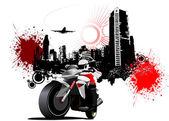 City biker on grunge urban background. Vector illustration — Stock Vector