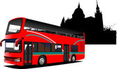 London double Decker sightseeing red bus. Vector illustration — Stock Vector