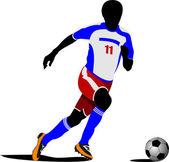 Playeron футбольные поля. цветные векторные иллюстрации — Cтоковый вектор