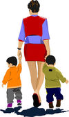 Mother walking with two children. Vector illustration — Stok Vektör