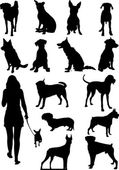 Set of dogs silhouette. Vector illustration — Stock Vector