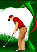 Golfer hitting ball with iron club. Vector illustration — Stock Vector