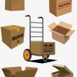 Carton boxes collection. Vector illustration — Vettoriali Stock