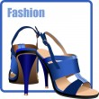 Fashion woman blue shoes poster. Vector illustration — Stock Vector