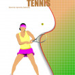 Woman tennis player.Vector illustration — Imagen vectorial